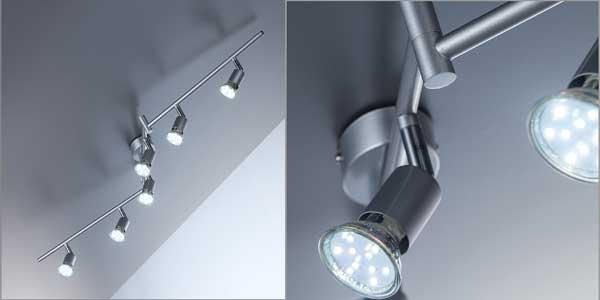 Lámpara de techo articulada B.K. Licht con 6 focos LED orientables incluidos barata en Amazon