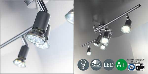Lámpara de techo articulada B.K. Licht con 6 focos LED orientables incluidos chollo en Amazon