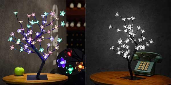 Lámpara de mesa LED con diseño de árbol con ramas flexibles ideal para Navidad barato en Amazon