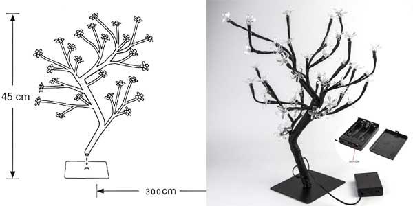 Lámpara de mesa LED con diseño de árbol con ramas flexibles ideal para Navidad chollazo en Amazon