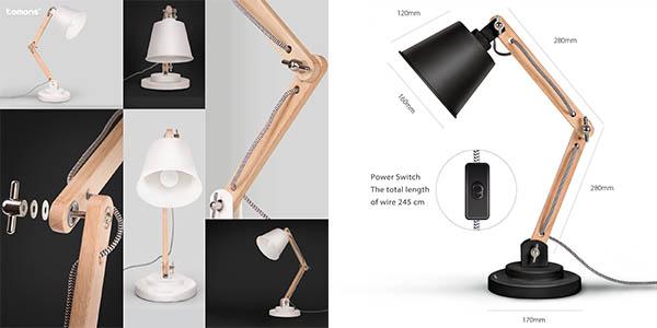 lámpara de noche y para escritorio orientable en madera y metal con genial relación calidad-precio