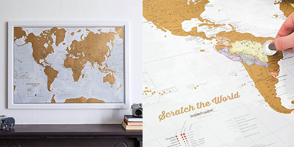 mapamundi rascable regalo original para viajer@s oferta
