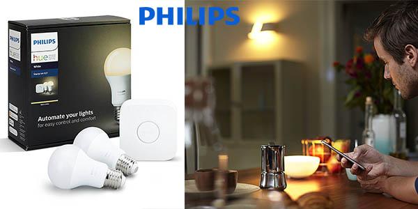 Pack 2 bombillas LED Philips Hue White iluminación inteligente chollo