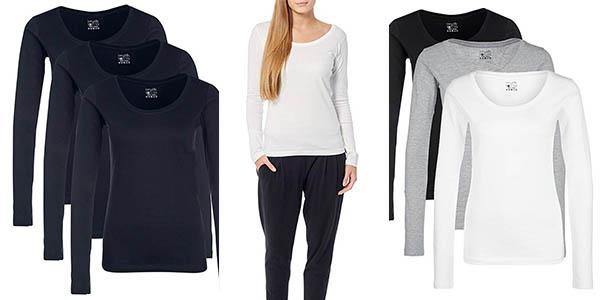 Pack 3 camisetas en algodón básicas para mujer Berydale chollo