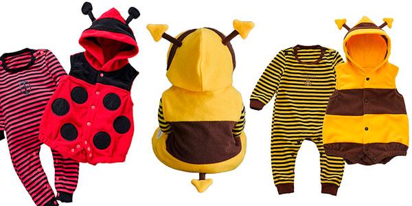 Pelele para bebe diseño abeja o mariquita con capucha barato en Amazon