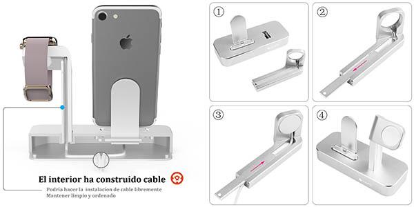 plataforma para teléfono móvil iPhone y reloj Apple en aluminio estable