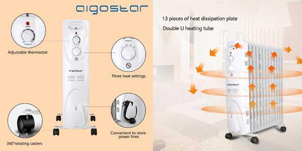 Radiador de aceite Aigostar Warm Snow 33JHF portátil de 13 elementos, 2500W, 3 ajustes chollazo en Amazon