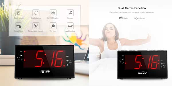 Radio Reloj Digital INLIFE con Gran Pantalla LCD chollazo en Amazon