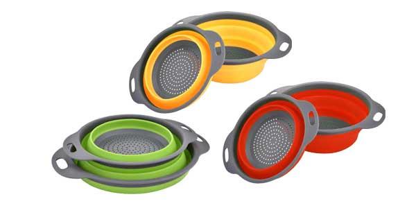 Set 2 coladores Enko plegables de silicona sin BPA en varios colores chollo en Amazon