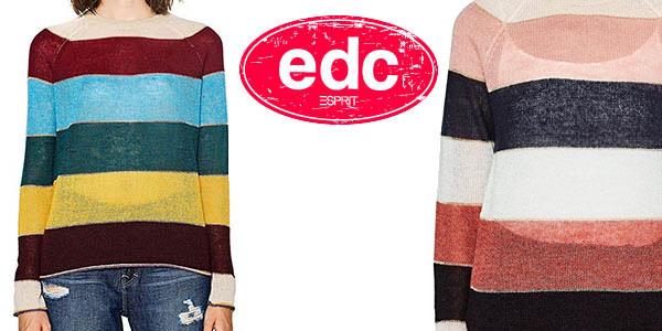 Sueter a rayas EDC Esprit barato para mujer