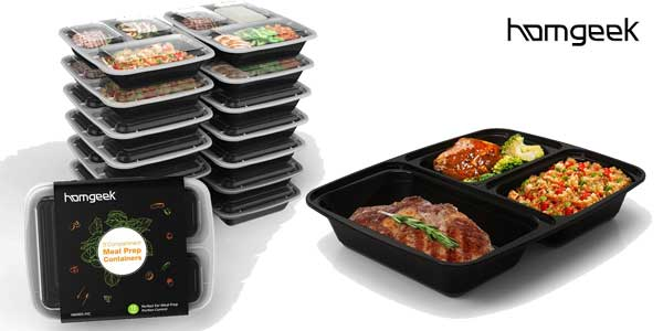 Pack de 15 bandejas Bento box Homgeek reutilizables chollo en Amazon