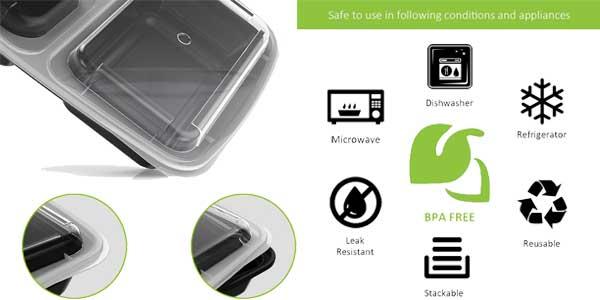 Pack de 15 bandejas Bento box Homgeek reutilizables baratas en Amazon