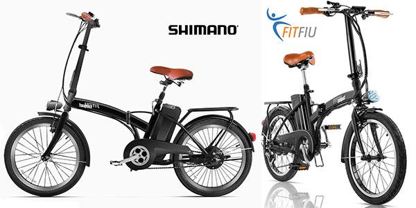 Bicicleta eléctrica plegable Fitfiu Compact con cambio Shimano barata