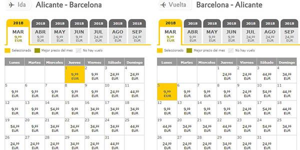 calendario de precios vuelos en oferta Vueling promoción diciembre 2017