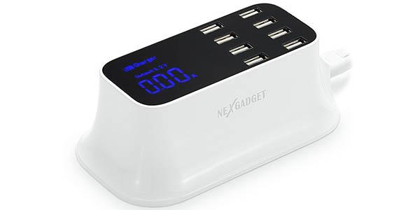 Cargador portátil de 8 puertos Nexgadget con pantalla LED informativa