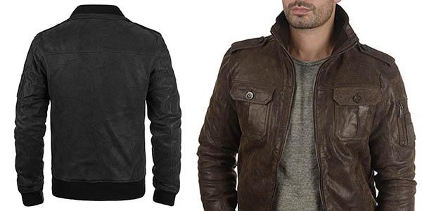 chaqueta de piel diseño casual para hombre !Solid Fash chollo