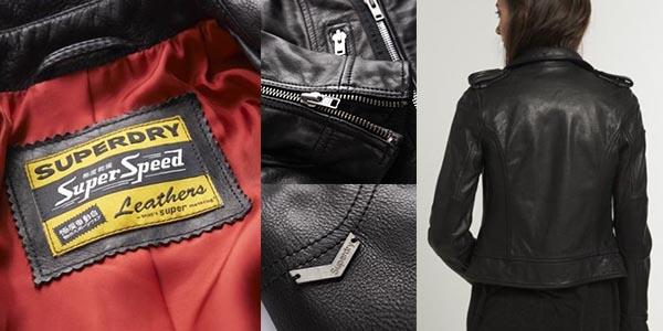 chaqueta de piel estilo motorista Superdry Premium Biker para mujer chollo