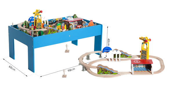 Juego de Tren con Mesa 82 Piezas de Madera chollazo en eBay