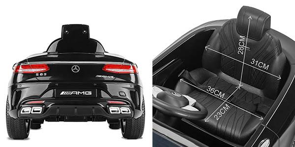 coche eléctrico Mercedes-AMG S63 cinturón seguridad estructura estable para niños de 3 a 8 años chollo