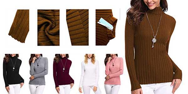 Jersey de canalé con cuello alto en varios colores para mujer barato en Amazon