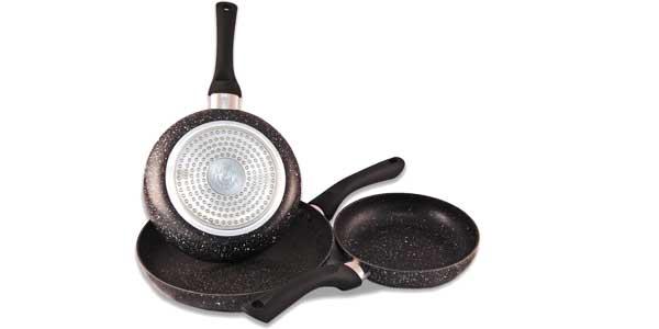 Juego Santa Lucía de 3 sartenes recubrimiento granito antiadherente para gas, eléctricas e inducción baratas en eBay