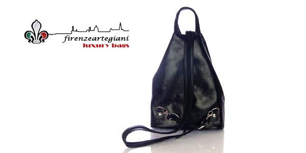 Bolso mochila Firenze Artegiani de piel auténtica para mujer en color negro barata en Amazon Moda