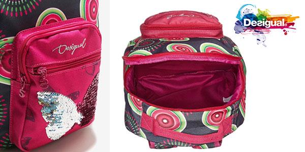 Mochila Desigual Tamarillo rosa con lentejuelas para niña barata