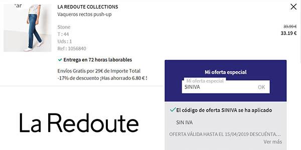 ropa con grandes marcas en La Redoute con descuento IVA abril 2019