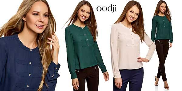 Blusas de gasa estilo militar de Oodji Ultra en varios colores chollo en Amazon Moda