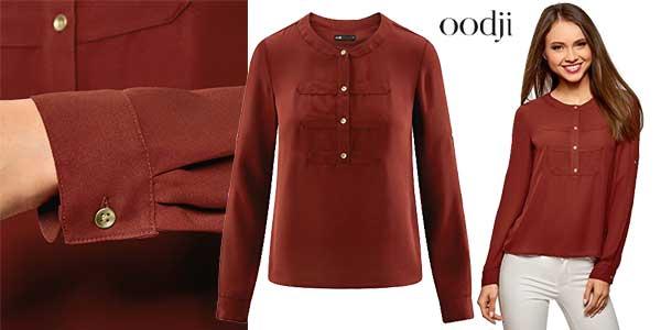 Blusas de gasa estilo militar de Oodji Ultra en varios colores chollazo en Amazon Moda