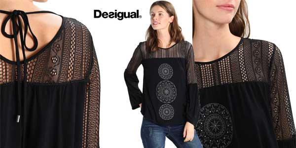 Blusa Desigual Neusifu en color negro para mujer chollo en Amazon Moda