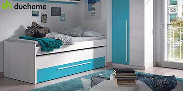 Cama nido juvenil (2 camas de 90) con cajón y estante a juego chollo en eBay España