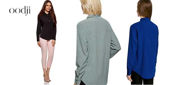 Blusas rectas Oddji con bolsillo en el pecho en varios colores chollo en Amazon Moda