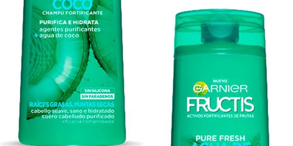 champú sin silicona para cabello graso Fructis Garnier Agua de coco precio brutal