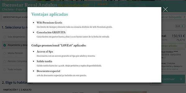 Iberostar hoteles código descuento LOVE18 especial San Valentín