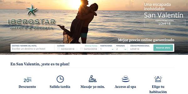 Iberostar promoción San Valentín código descuento LOVE18 enero 2018