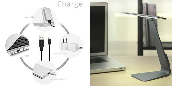 lámpara orientable diseño moderno escritorio regulable intensidad de luz