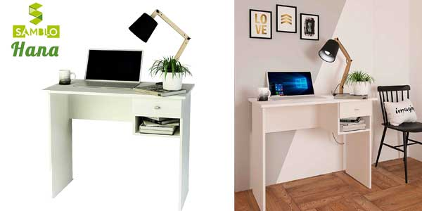 Mesa escritorio básica Samblo con cajón en color blanco barata en Amazon