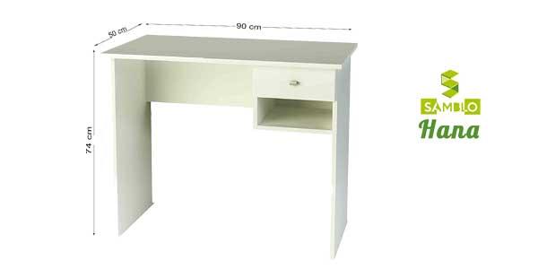 Mesa escritorio básica Samblo con cajón en color blanco chollo en Amazon