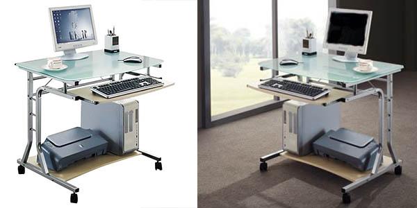 mesa ordenador SixBros diseño cristal metal oferta