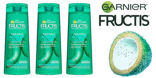 Pack 3 botes Garnier Fructis agua de coco 360 ml champú pelo graso oferta
