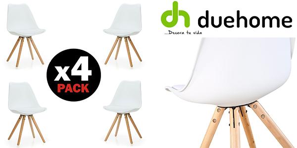 Pack 4 sillas DueHome Artic diseño nórdico chollo
