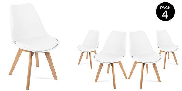 Pack 4 sillas McHaus diseño nórdico baratas