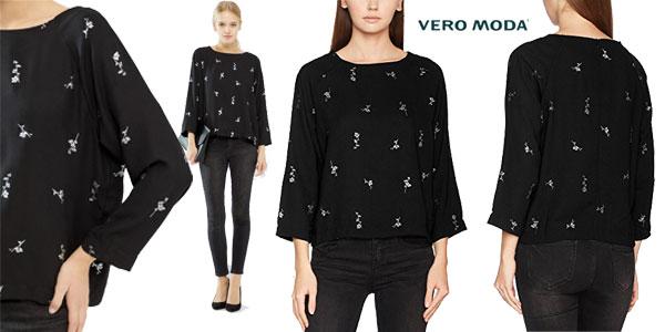 Blusa Fiona de Vero Moda para mujer en color negro o azul barata en Amazon Moda