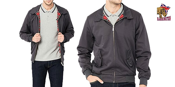 Cazadora impermeable Harrington en color gris marengo para hombre chollazo en Amazon Moda
