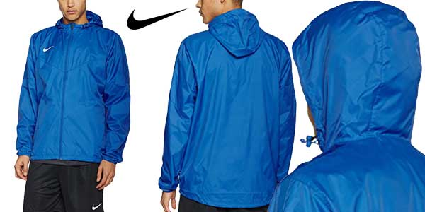 Chaqueta Nike Team Sideline Rain Jacket impermeable hidrófuga con Dri-FIT en color azul claro chollazo en Amazon