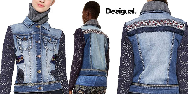 Chaqueta de mezclilla Desigual Exotic Crochet chollo en Amazon Moda