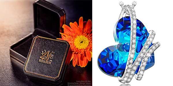 """Colgante NINASUN """"Corazón del Océano"""" en Plata de Ley con sello 925 y cristales de Swarovski barato en Amazon Moda"""