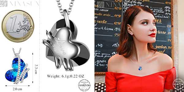 """Colgante NINASUN """"Corazón del Océano"""" en Plata de Ley con sello 925 y cristales de Swarovski chollo en Amazon Moda"""