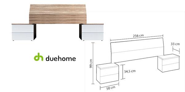 Cabezal y mesitas de noche Duehome en blanco brillo y madera natural chollo en eBay España